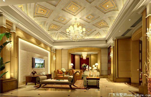 广州别墅室内设计的效果图和装修后的现场照片 这套方案是