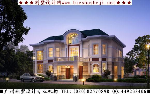 三层欧式别墅外观效果图:(此别墅建筑效果图建筑占地面积约120平