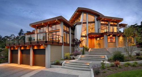 美式獨棟別墅裝修設計整體外觀效果圖