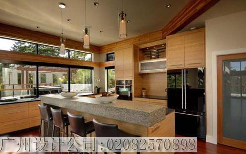 美式独栋别墅装修设计厨房观效果图-美式独栋别墅装修设计