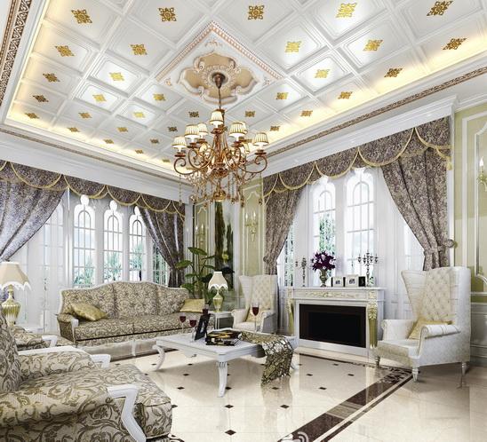 效果图中可以看出,别墅集成吊顶装修设计相对于传统