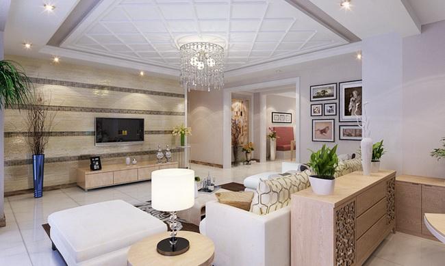 别墅装修设计客厅的整个色调都以浅黄色为主,装饰元素虽少,高清图片
