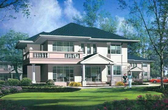 小院平顶乡村二层别墅自参观设计图别墅马勒建房图片