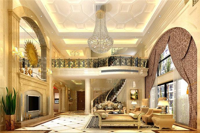 广州碧桂园别墅客厅设计装修效果图图片